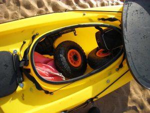 Storage space of ocean kayak