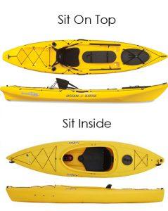 Sit on top anf sit inside fishing kayak