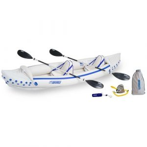 Sea Eagle SE370 Inflatable Sport Kayak Pro Package - one of the best inflatable dog-friendly kayak in 2019